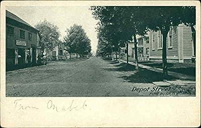 Depot Street Pine Bush, New York Original Vintage Postcard