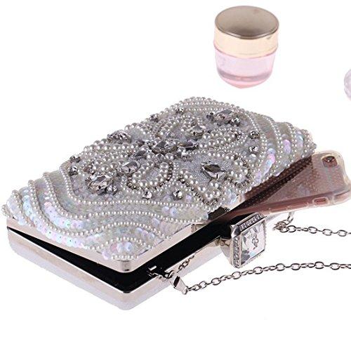 soirée Silver perlée Sac pour de bandoulière Femme Hungrybubble incrusté de Sac Pochette Color Diamants à Gold qzYxZ