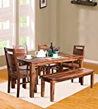 Elegant Furniture Sheesham Wood 6 Seater Dining Table with 4 Chairs and 1 Bench for Dining Room