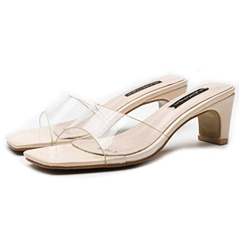 07f2c87421c Amazon.com   T-JULY Women's Clear Strappy Chunky Block Heels Slides ...
