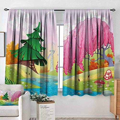 Curtains for Living Room Cartoon,Fantasy Landscape with Unusual Trees Riverside Drawing Spring Summer Season Print,Multicolor,Darkening and Thermal Insulating Draperies 42