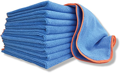"Antibacterial Microfiber Cloth Silver Infused - 10 Pack Large 16""x16"" Towels With EPA Registered SilverClear 