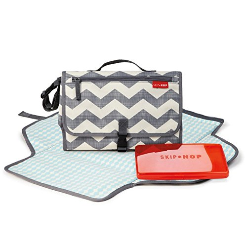 Portable Changing Station with Cushioned Changing Mat and Wipes Case, 3 Pockets, Chevron ()