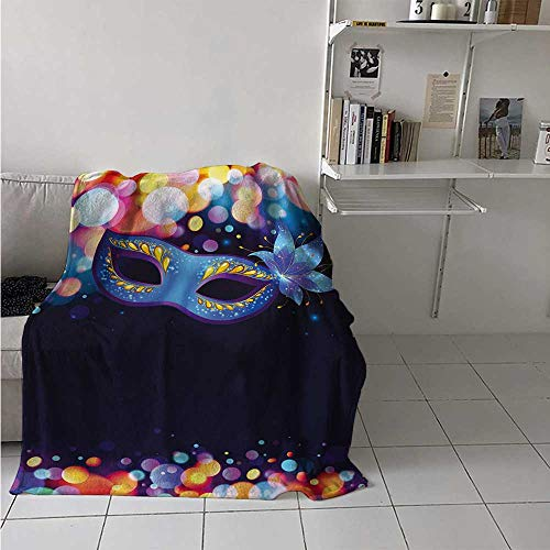 (maisi Venice Super Soft Lightweight Blanket Vivid Blue Carnival Mask with Ornate Flower and Colorful Dots Masquerade Tradition Oversized Travel Throw Cover Blanket 70x50 Inch)