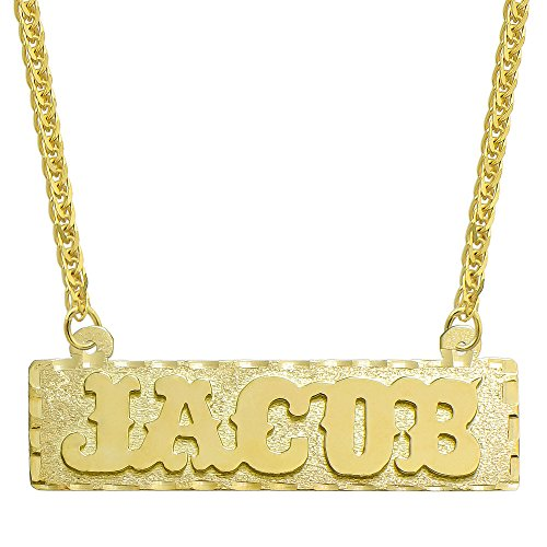 14K Yellow Gold Personalized Name Plate Necklace - Style 4 (20 Inches, Square Wheat Chain) 14k Yellow Gold Nameplate