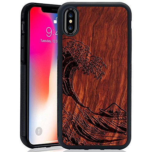 Wood Case for iPhone X, Wood Pattern [Laser Printing] Rugged [Dual Layer] High Impact Durable Back Wooden Case Cover For Apple iPhone X (Wave)