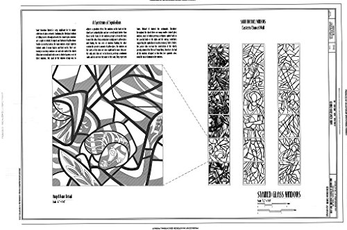 Historic Pictoric Blueprint Diagram Stained Glass Windows - Saint Sebastian Church, 476 Mull Avenue, Akron, Summit County, OH 12in x 08in