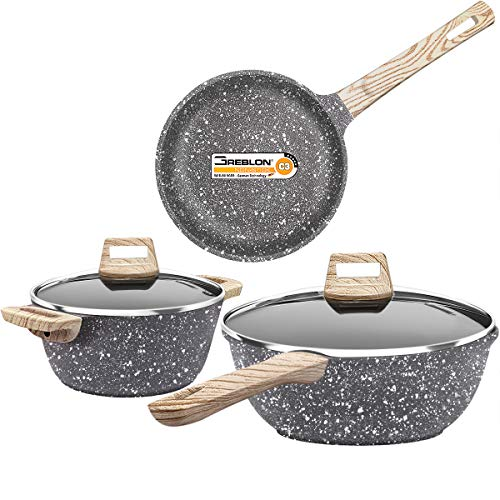Dealz Frenzy Nonstick Stone-Derived Cookware Set, Induction Bottom Cooking Pots and Pans Set, Soft Touch Bakelite Handle and Konb, Dishwasher Safe, PFOA Free, FDA, Oven Safe, 5 Pieces