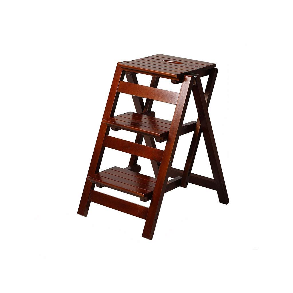 YYY Wooden Step Stool Chair, Portable Three-Step Stool, Versatile and Durable, can be Used in Gardens, Offices, Homes, Libraries (42cm × 56cm × 66cm) (Color : Cherry) by YYY