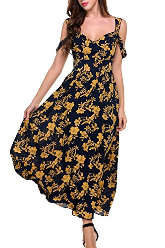 [Beyove Women's Boho Spaghetti Straps Floral Print Flowy Casual Party Maxi Dress Navy Blue L] (Rayon Womens Party Dress)