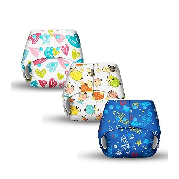 Basic Certified Soft Fleece Lined 3 Pocket Diapers - Assorted Prints (Only Diaper Shells, No Inserts Included)