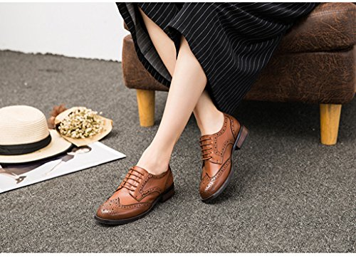5b80edc9a3 U-lite Brown Brogues Lace-up Wingtip Leather Flat Oxfords Vintage oxford  Shoe Womens