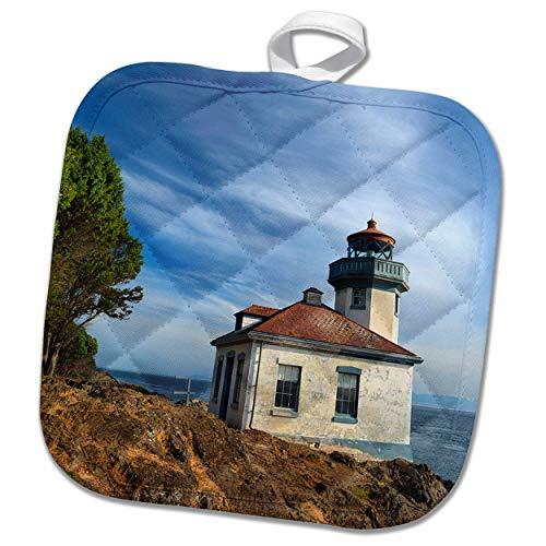 3dRose Danita Delimont - Washington - USA, Washington State, San Juan Island, Lime Kiln Point Lighthouse. - 8x8 Potholder (phl_315158_1)