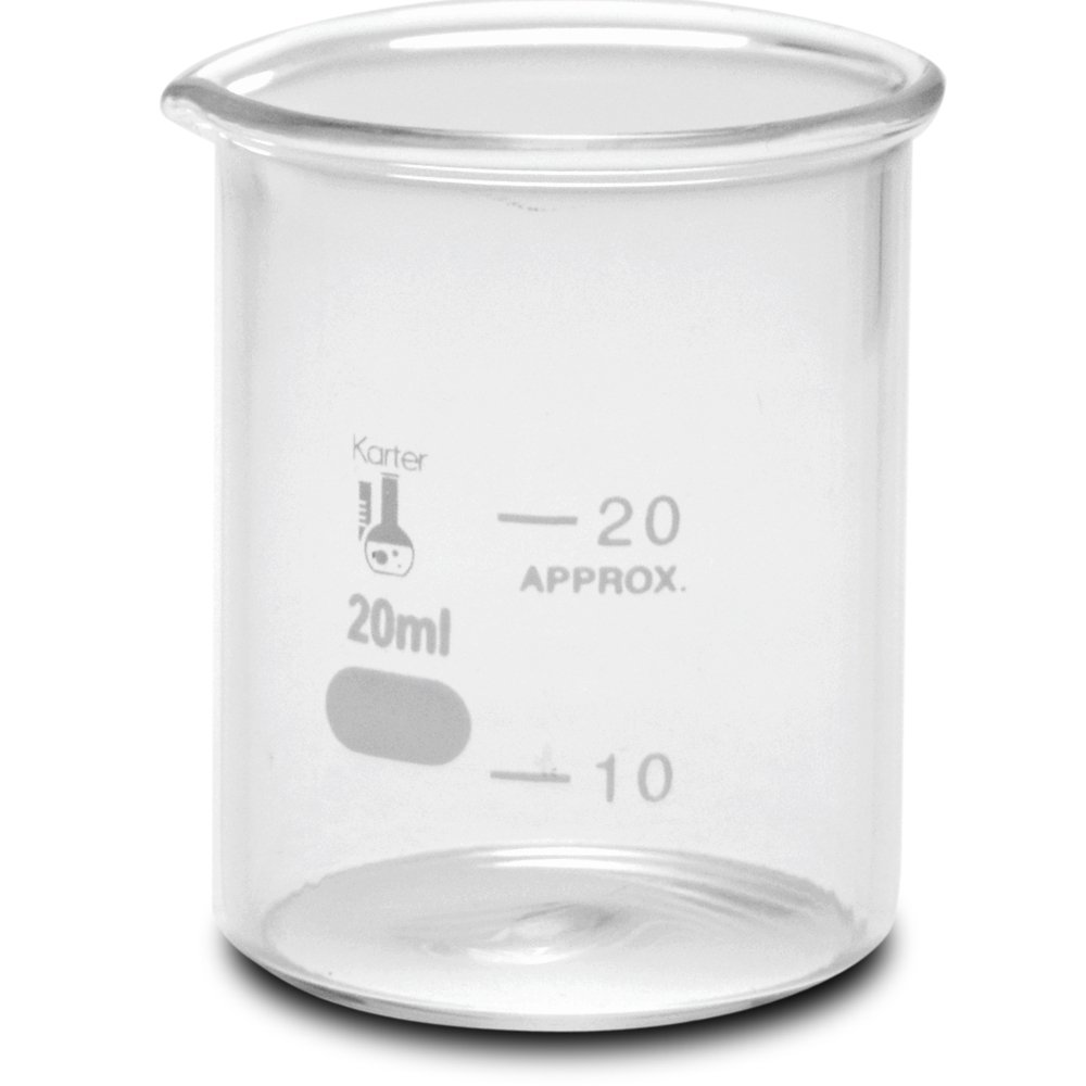 20ml Beaker, Low Form Griffin, Borosilicate 3.3 Glass, with Spout & Printed Graduations, Karter Scientific 232M2 (Pack of 12)