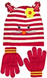 Girls Striped Kitty Face with Pointy Ears Knit Beanie & Gloves Set in Pink or Blue (Dark Pink)
