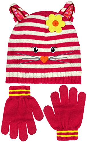 Girl's Knit Hat & Gloves or Mitten Sets in Multiple Designs and Colors Toddlers Infant (Knit Striped Cat Face-Dark Pink Toddler) Striped Cat Face
