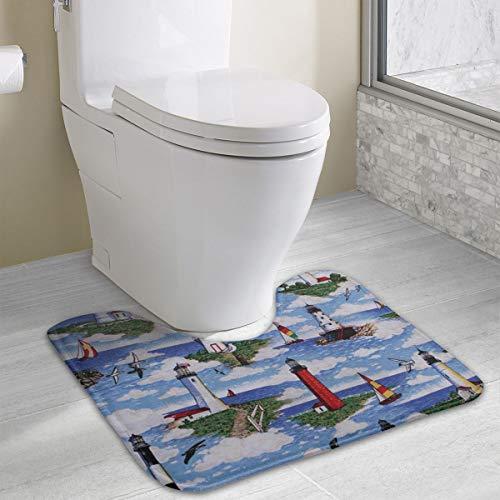 (Anti-Skid Memory Foam U-Shaped Bath Mats Lighthouses Scene Big Sable Bathroom Rug Mat Carpet, Luxurious Fast Dry Rug Doormat, Multi-Purpose Home Decor for Bathroom, Toilet)