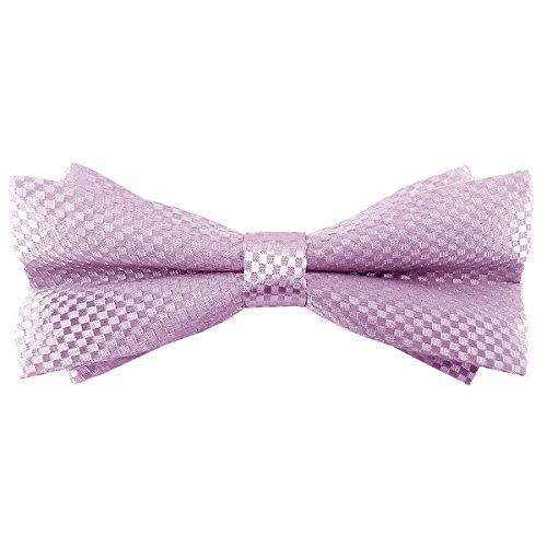 Bow 24' Pink (Various Colors Classic Pretied Bowties Checkered Butterfly Already Tied Bow Ties (Pink))