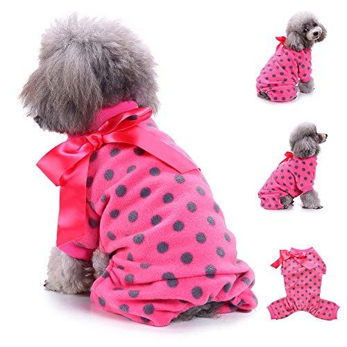 Cywulin Dog Pajamas, Cute Ribbon Polka Dots Fleece Coats Soft Pjs Sweater Pet Warm Clothes Puppy Sweatshirt Costume Apparel (Hot Pink, Medium)]()