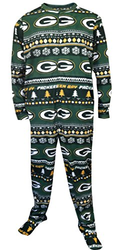 Concepts Sport Green Bay Packers Ugly Sweater Guys One Piece Footie Pajama For Men (X-Large)