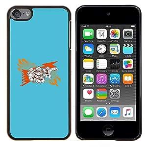 Qstar Arte & diseño plástico duro Fundas Cover Cubre Hard Case Cover para Apple iPod Touch 6 6th Touch6 (Resumen Azul)