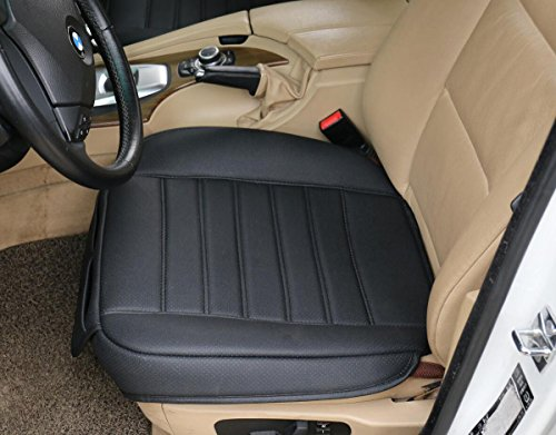 (W53x L54cm) PU leather car seat cushion car seat protector car seat cover for BMW/ 5 Series, X3, X4,X5 & Audi A8 / Q7/Mercedes Benz GLS / GL / M / S (L, Black) ()
