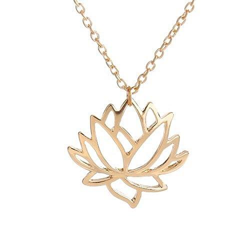 Amazon.com: brilendid Dainty Yoga joyas Cut Out Lotus Flor ...