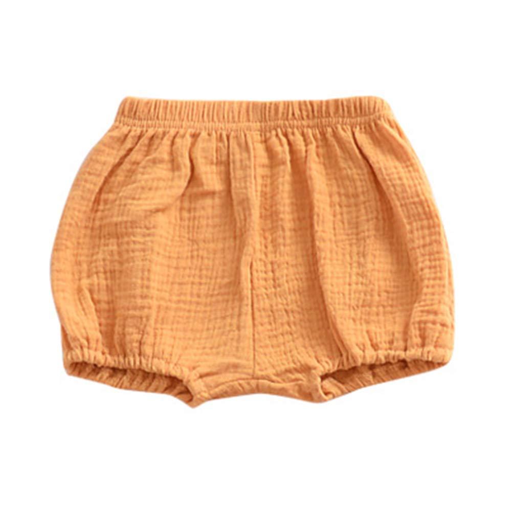 eamqrkt Verano Infantil Bebitos Playa Pantalones Cortos Algod/ón Lino Pantalones Casual Inferior PP Bloomer Pa/ñal Cubierta Amarillo 70cm
