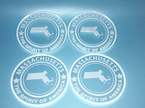 Spero Goods State Drink Coaster Set - Handcrafted Made in USA (clear Acrylic 4 per set - state set options; American Flag, California, Colorado, Massachusetts, or Texas) (Massachusetts, 4)