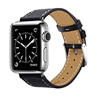 Apple Watch Band 42mm, Marge Plus Genuine Leather iwatch Band Replacement Strap with Stainless Metal Clasp for Apple Watch Series 2, Series 1, Sport, Edition, -- Black