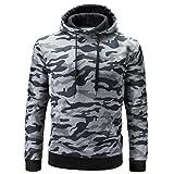 SCSAlgin Men's Tops, Men's Autumn Winter Long Sleeve Camouflage Hooded Sweatshirt Tops Blouse (Gray, XL)