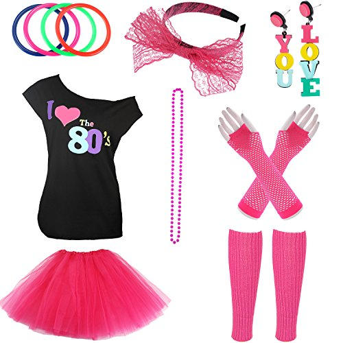 Jetec 80s Costume Accessories Set Necklace Bangle Leg Warmers Earrings Gloves Tutu Skirt T-Shirt for Party Accessory (M, Set 1) -