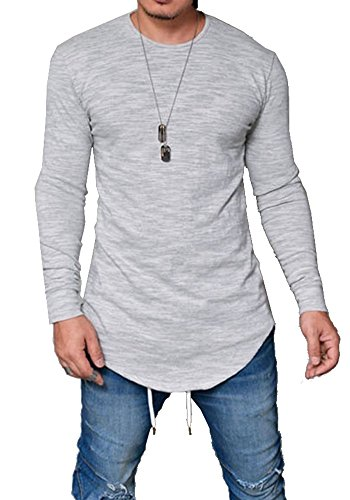 Pxmoda Mens Long Sleeve Hipster Hip Hop Basic Curved Hem T Shirt ... c30ce27c169