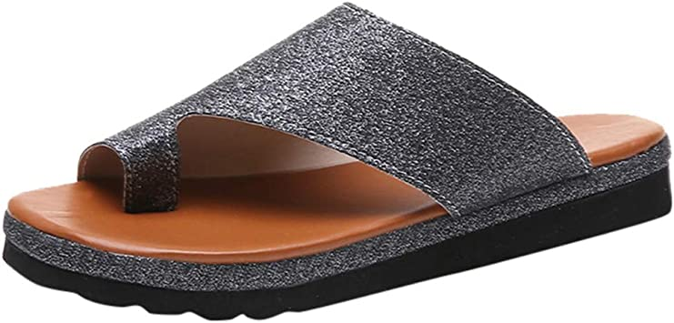 Womens Faux Leather Sandals Ladies Open Toe Thick Bottom Comfortable Sole Wedges Shoes Arch Support Slippers
