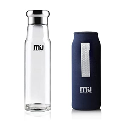 MIU COLOR – ® Elegante portátil 550 ml botella de cristal con funda de nailon Botella