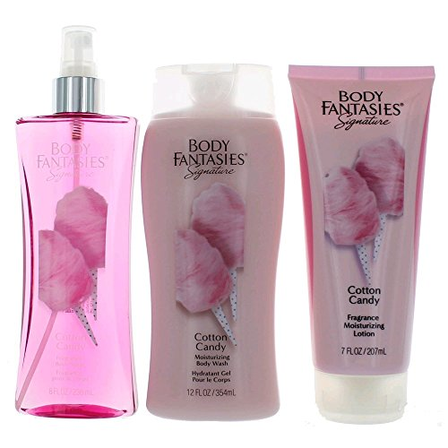 Body Fantasies Signature Cotton Candy for Women, 3 Pcs Gift Set ()
