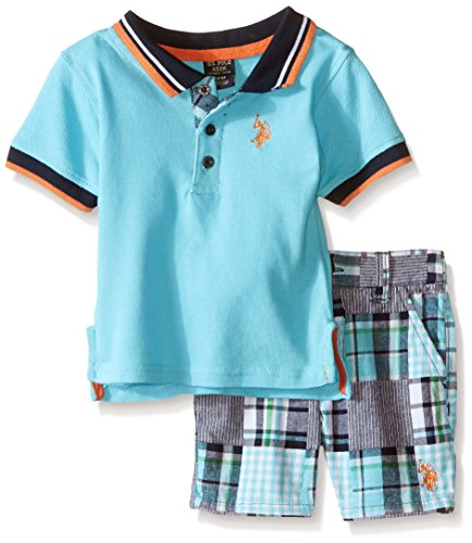 Patchwork Boys Shorts (U.S. Polo Assn. Boys' Pique Shirt and Patchwork Short, Multi Plaid, 6-9)