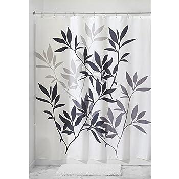 InterDesign Leaves Fabric Shower Curtain, Black/Gray/White
