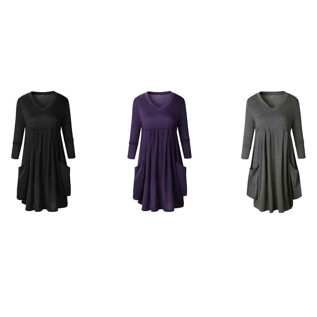 Amazon.com : Korowa Vestido largo plisado de color puro de las mujeres de la manga floja del oscilación con los bolsillos vestido largo de la rodilla ...