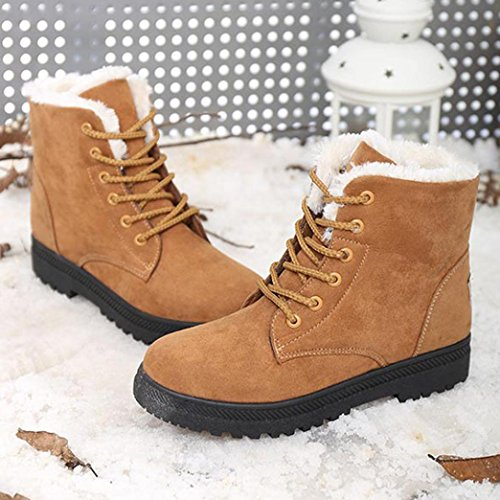 Boots British Warm Retro New Shoes Boots Brown Martin Women's Boots Classic Flat FALAIDUO Fashion Winter Fashion Short Snow qwz0H4x