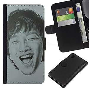 Riendo dientes Retrato de hombre- la tarjeta de Crédito Slots PU Funda de cuero Monedero caso cubierta de piel Para Sony Xperia Z1 L39