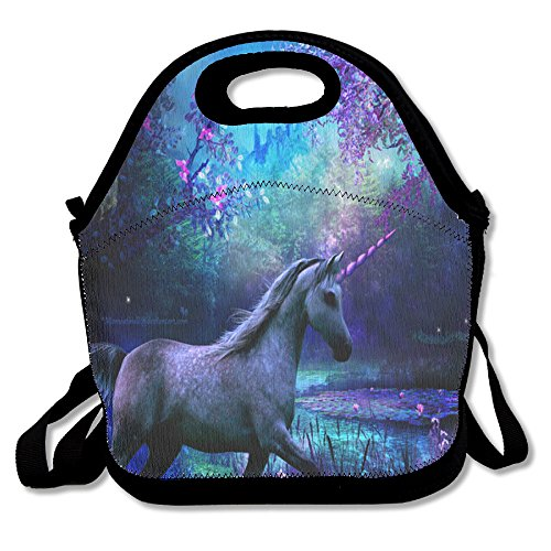 Unicorn Horse Funny Insulated Thermos Polyester Backpack Women Men Kids Teen Girls Black Lunch Bag Tote Food Storage Carrying Case For School Office