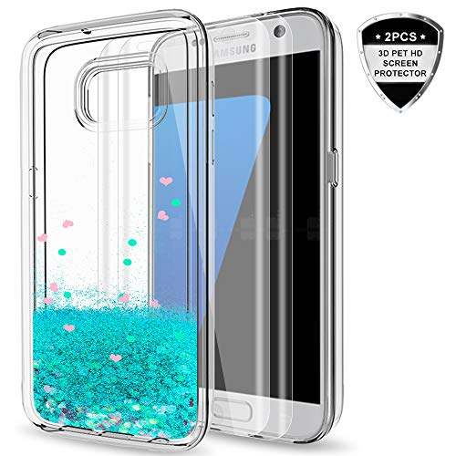 Galaxy S7 Edge Case with 3D Pet Screen Protector [2 Pack] for Girls Women, LeYi Glitter Bling Moving Quicksand Liquid Clear TPU Protective Phone Cover Case for Samsung Galaxy S7 Edge ZX Turquoise