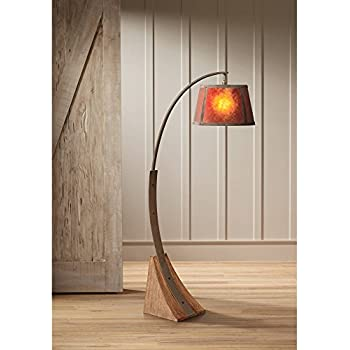 Oak River Mission Arc Floor Lamp Dark Rust Metal Pole Oak