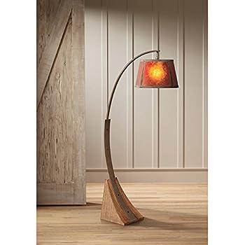 Oak River Mission Arc Floor Lamp Dark Rust Metal Pole Oak