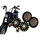 Black Out OZ-USA® Front White Amber Dual LED Turn Signal Running Light Insert Harley Bullet 1157 Bulb FL FX XL Smoke Lens touring dyna softail sportster street road electra glide