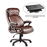 Halter HAL-009 Executive Bonded Leather Office Chair Bundle with Fully Adjustable Foot Rest , Home & Office Computer Desk Chair, Supportive Memory Foam Cushion - Supports 500LBS