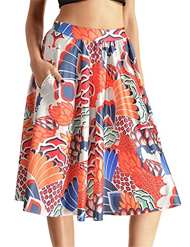 Tobyak Women's Printed A-line Pleated Flared Midi Skater Skirt With Pockets Pattern #6Small - Mills Arundel Store