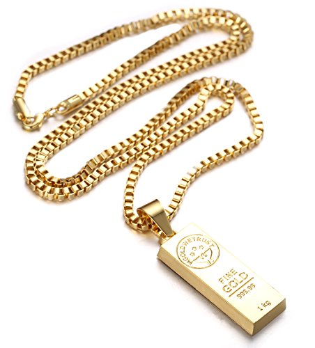 Halukakah in gold we trust mens 18k gold plated gold bar pendant halukakah in gold we trust mens 18k gold plated gold bar pendant necklace with free box chain 30 amazon jewellery aloadofball Image collections