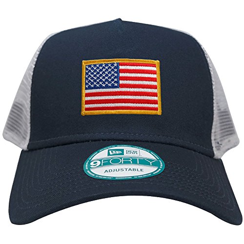 New Era 9FORTY 5 Panel USA Flag Patch Snapback Trucker Cap - NAVY - YELLOW